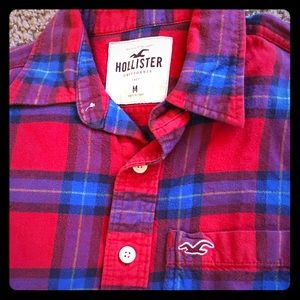 Hollister Red Plaid Flannel Mens Long Sleeve Shirt